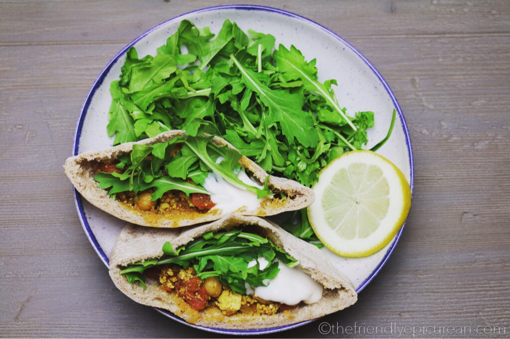 Chana Masala Pockets with Tofu and Arugula
