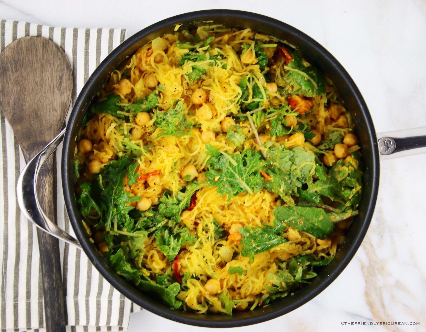 Spaghetti Squash with Kale and Chickpeas (vegan, gluten free)