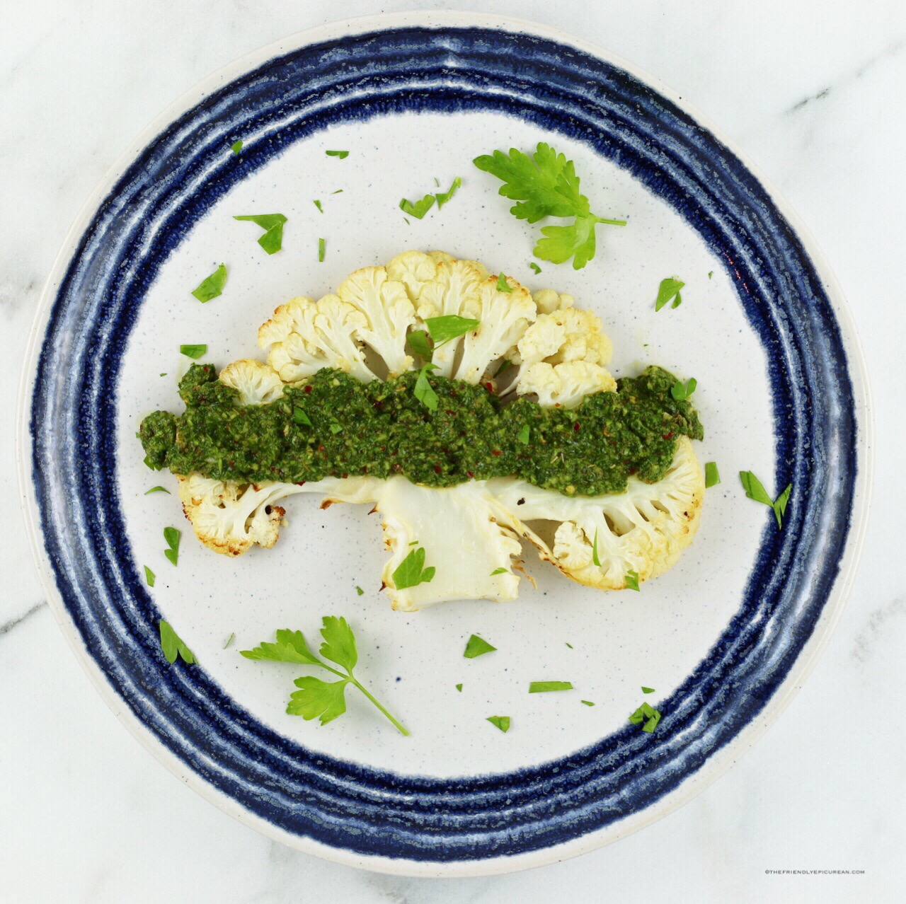 Cauliflower Steaks with Chimichurri Sauce
