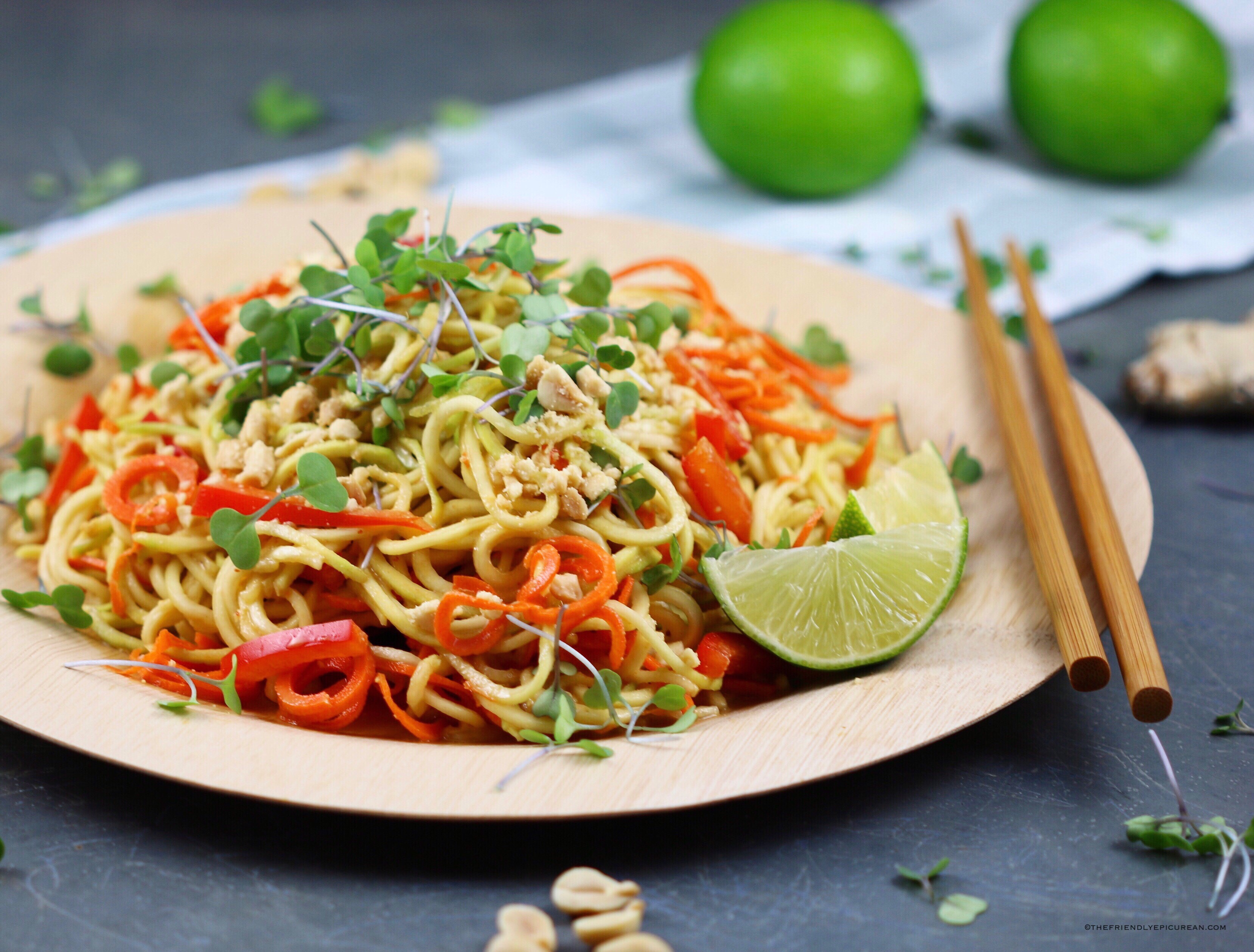 Spicy Peanut Zucchini Noodle Salad