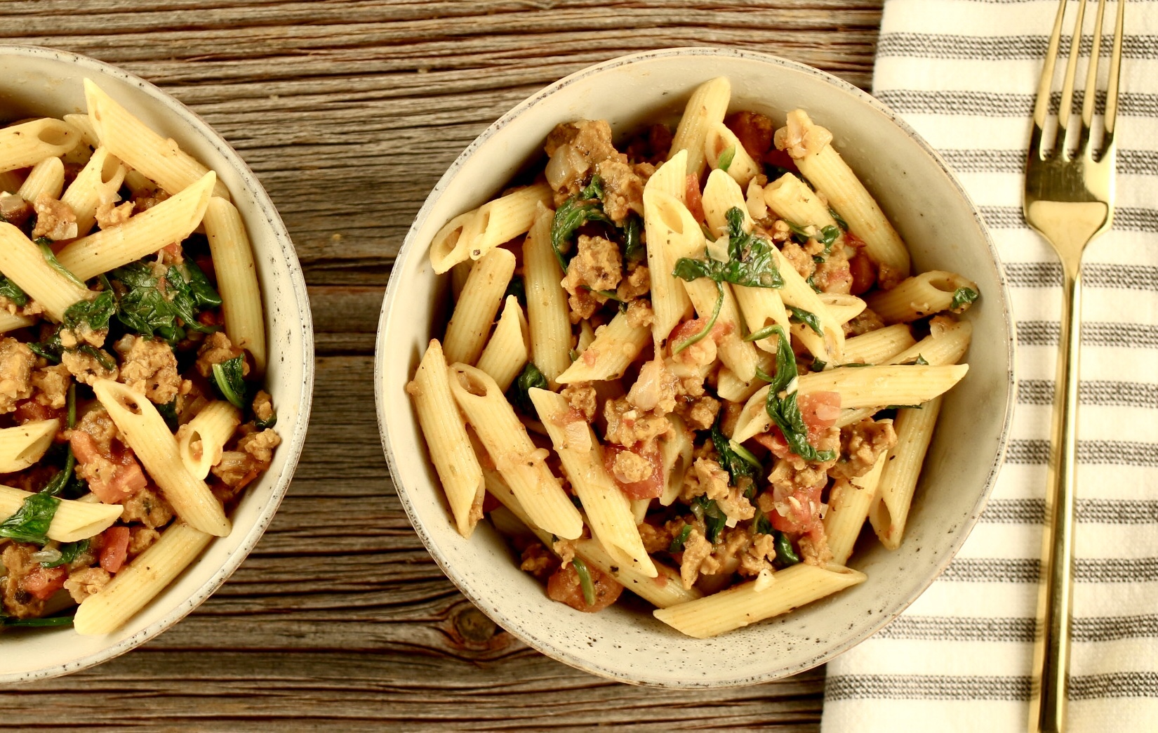 Chorizo and Spinach Penne