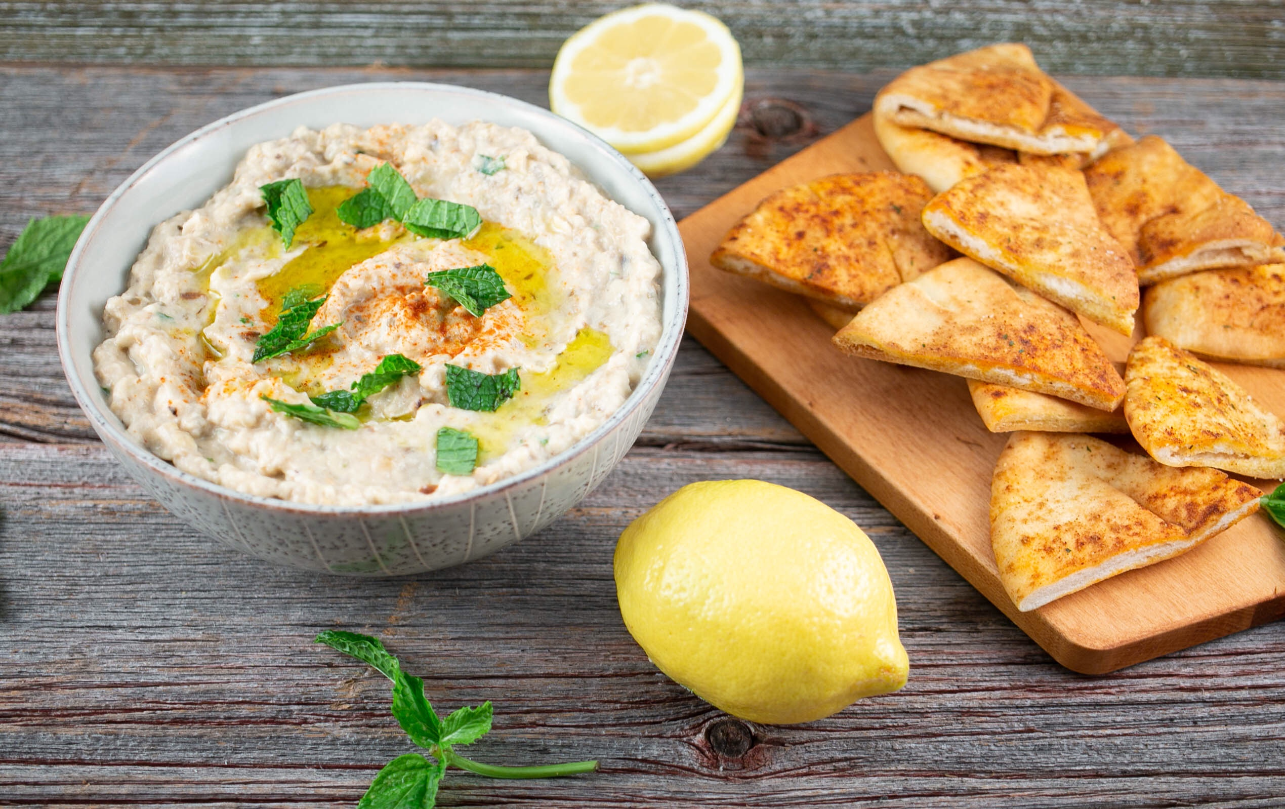 Spicy Eggplant Dip with Homemade Pita Chips