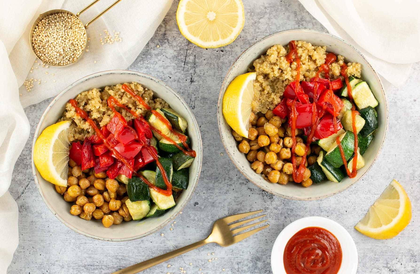 Roasted Vegetable and Chickpea Quinoa Bowls
